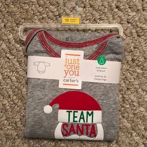 """NWT Baby Long-Sleeve """"Team Santa"""" Onesie"""